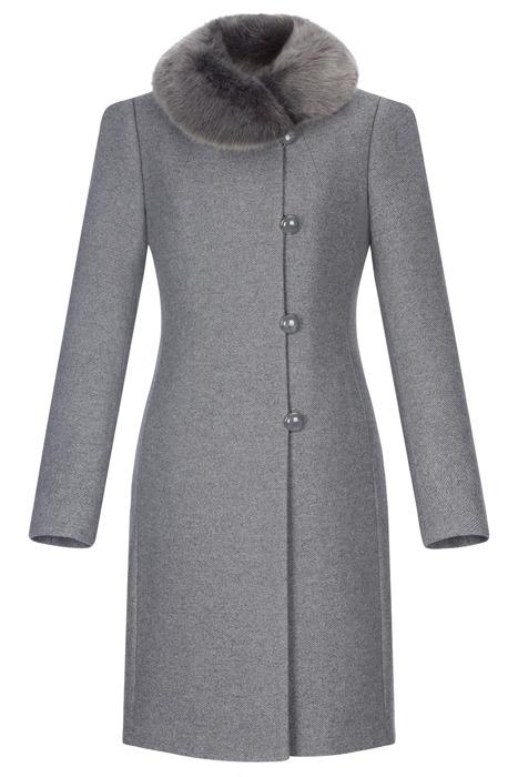Klasyczny płaszcz damski zimowy Maja popiel z wełną
