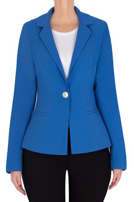 Klasyczny żakiet damski niebieski z klapami 3180