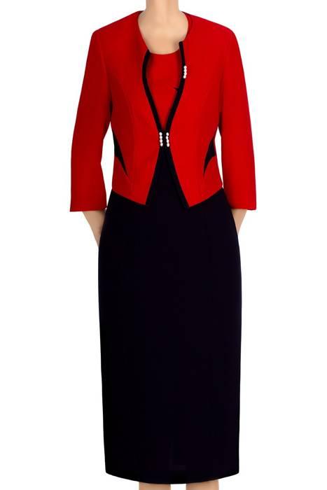 Komplet damski Perła granatowo-czerwony sukienka i żakiet