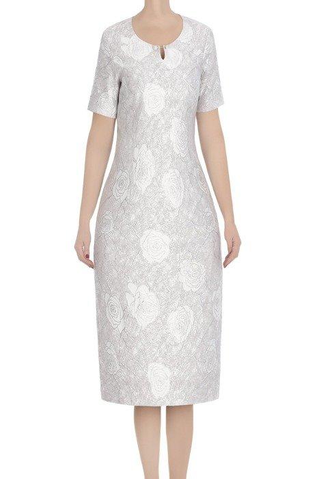 Komplet damski Roza srebrny sukienka i żakiet