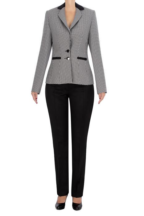 Komplet damski żakiet w pepitkę i czarne spodnie 3512