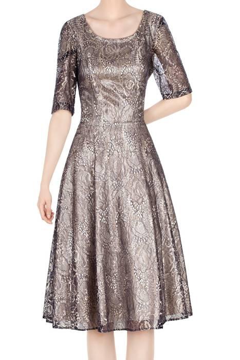 Koronkowa sukienka 4636 granat z beżem