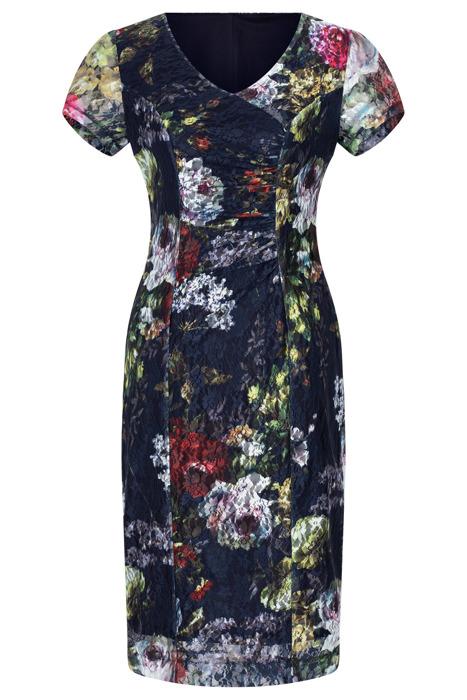 Koronkowa sukienka Maryla granatowa w kolorowe kwiaty
