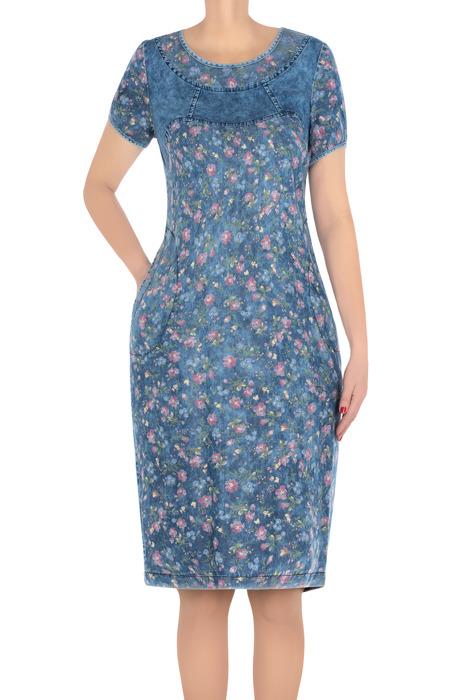 Modna sukienka dzianinowa jeansowa w kwiatki 3196