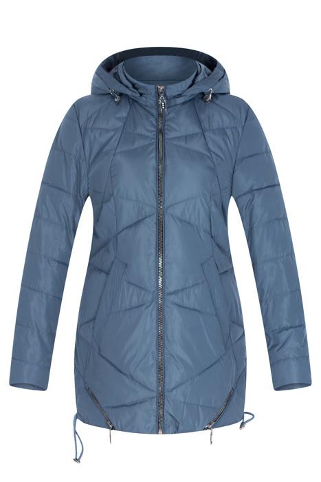 Pikowana niebieska kurtka z kapturem 3163