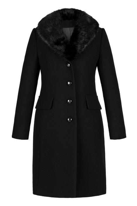 Płaszcz damski dyplomatka zimowy Lena czarny z wełną