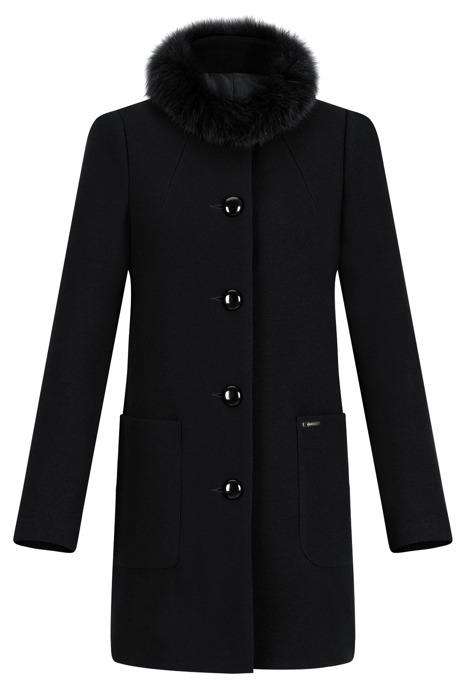 Płaszcz damski zimowy Blanca prosty fason czarny z wełną