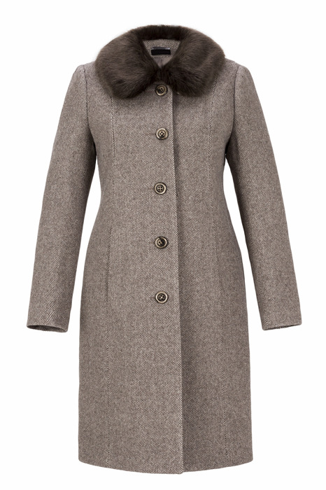 Płaszcz damski zimowy Ela brązowy z kołnierzem odpinanym z wełną