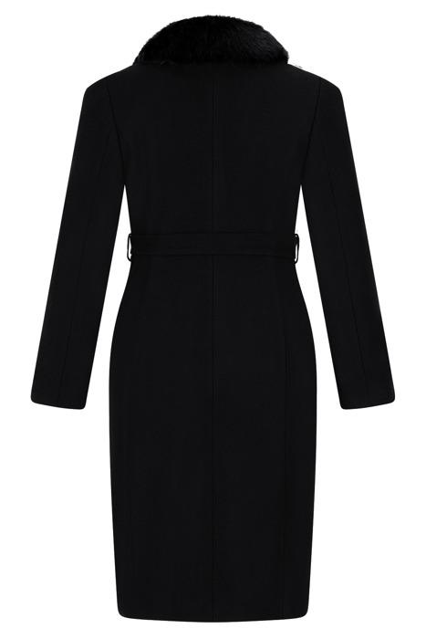 Płaszcz damski zimowy Ferro czarny z wiązaniem w pasie z wełną