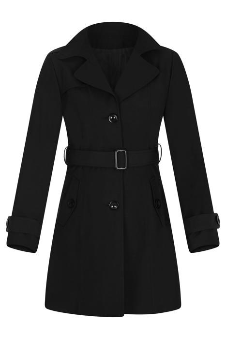 Płaszcz prochowiec AnMar czarny jednorzędowy na guziki z paskiem