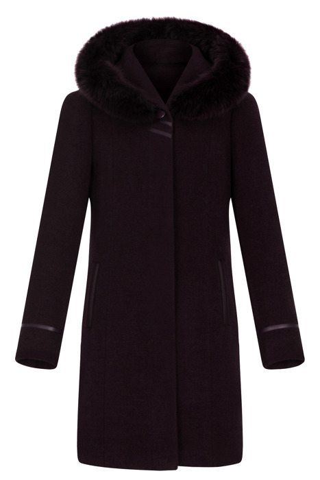Płaszcz zimowy Moris Aldona śliwkowy z kapturem i lisem