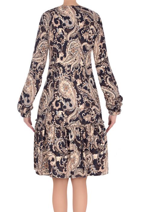 Stylowa sukienka Judyta granatowa w beżowe wzory 3192