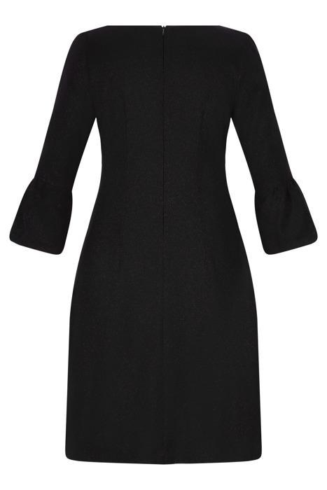 Sukienka Alina czarna prosta ze srebrną nitką