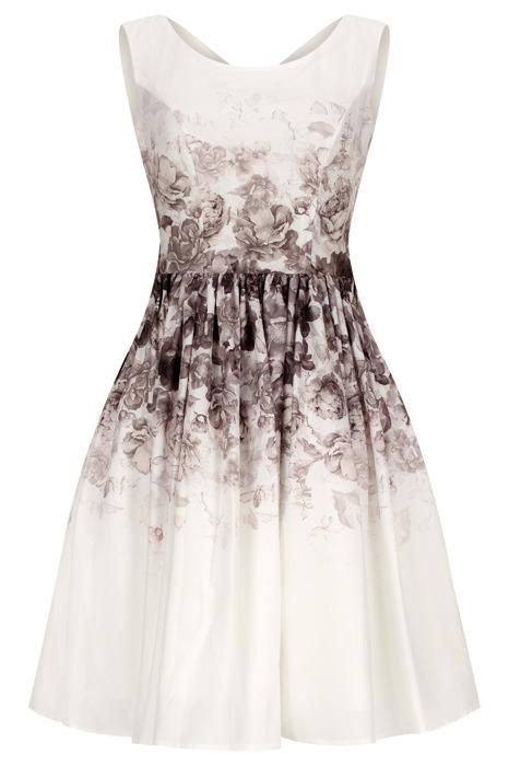 Sukienka Cller ecru rozkloszowana w brązowo-beżowe kwiaty