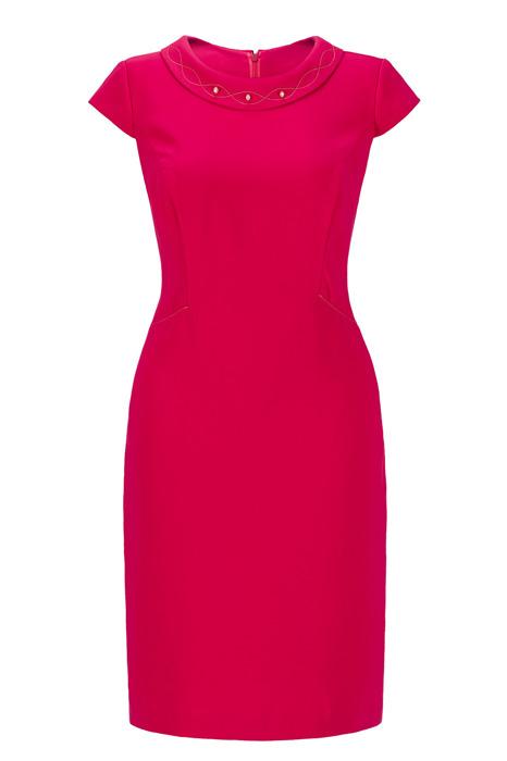 Sukienka Dagon 2225 malinowa czerwień z ozdobą przy szyi