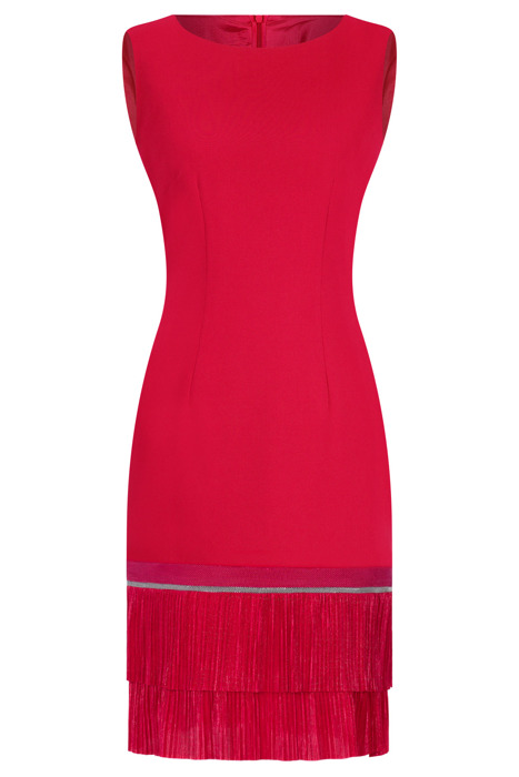Sukienka Dagon 2311 malinowa z podwójną falbanką na dole