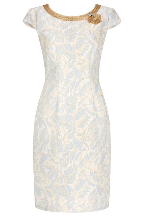 Sukienka Dagon 2388 niebiesko-beżowa z ozdobą przy dekolcie