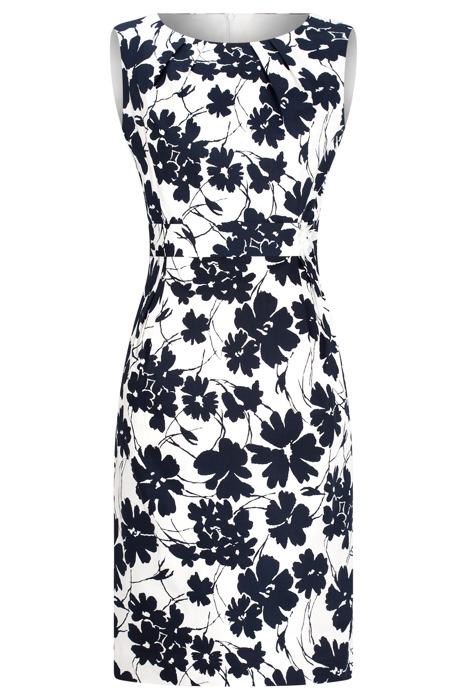 Sukienka Dagon 2403 ecru w kwiaty z bawełną ołówkowa