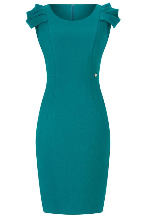 Sukienka Dagon 2460 butelkowa zieleń z bufiastym rękawem