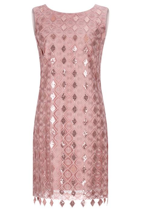 Sukienka Dagon 2468 różowa z cekinami