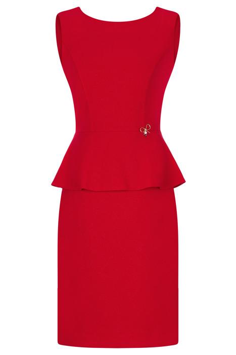 Sukienka Dagon 2469 czerwona z błyszczącą nitką i baskinką