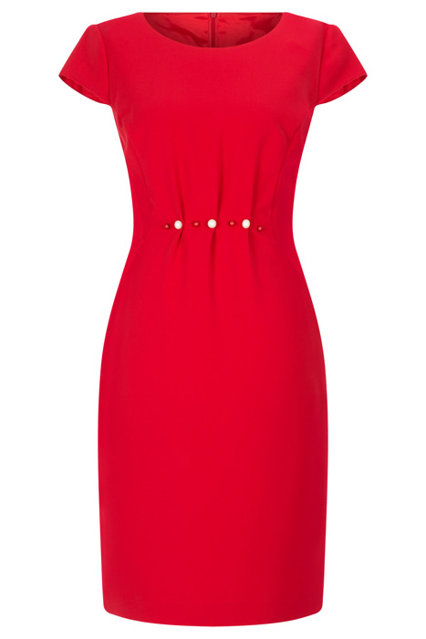Sukienka Dagon 2495 czerwona marszczona w talii