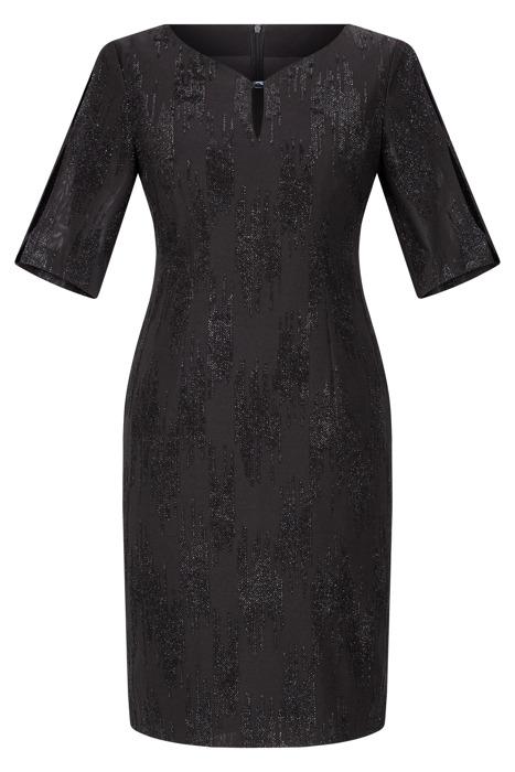 Sukienka Dagon 2525 czarna błyszcząca z ozdoba przy dekolcie