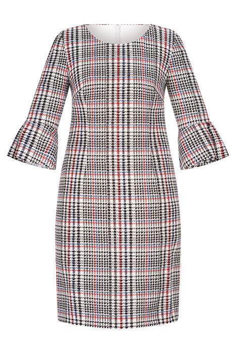 Sukienka Dagon 2546 w kratkę z rękawami z falbanką