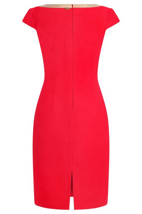 Sukienka Dagon 2554 czerwona z ozdobnym dekoltem