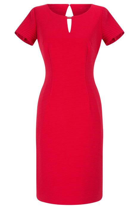 Sukienka Dagon 2557 czerwona w paski z ozdobą przy dekolcie