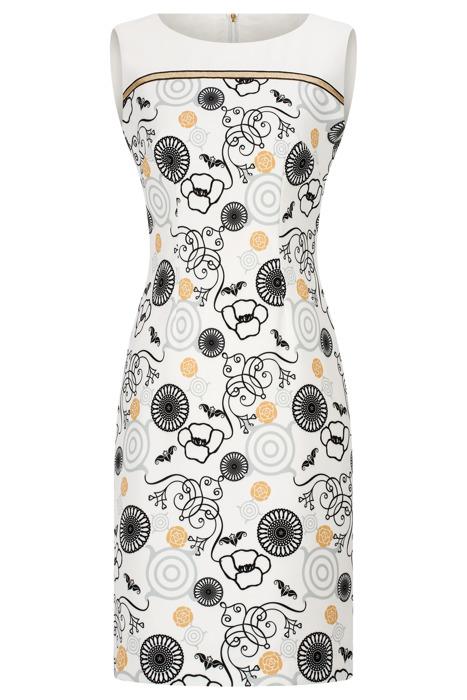 Sukienka Dagon 2559 ecru w geometryczne wzory