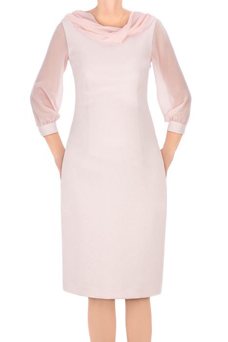 Sukienka Dagon 2572 różowa z tiulowymi rękawami