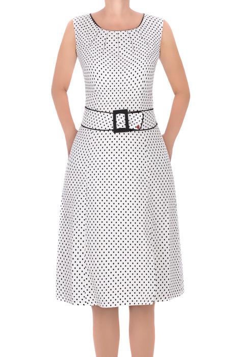 Sukienka Dagon 2602 biała w kropki z bawełną rozkloszowana
