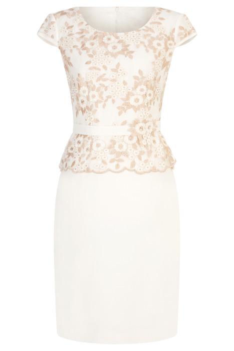 Sukienka Dagon 2612 ecru z koronkową górą w kwiaty