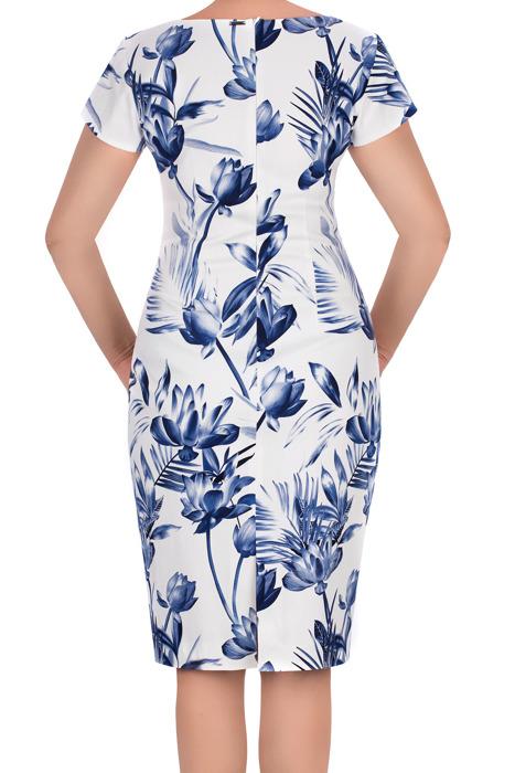 Sukienka Dagon 2631 ecru w niebieskie kwiaty bawełniana