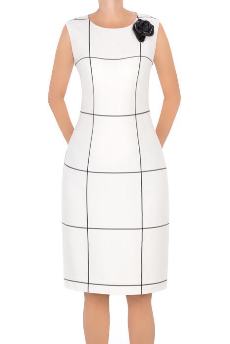 Sukienka Dagon 2651 biała w kratkę z ozdobą