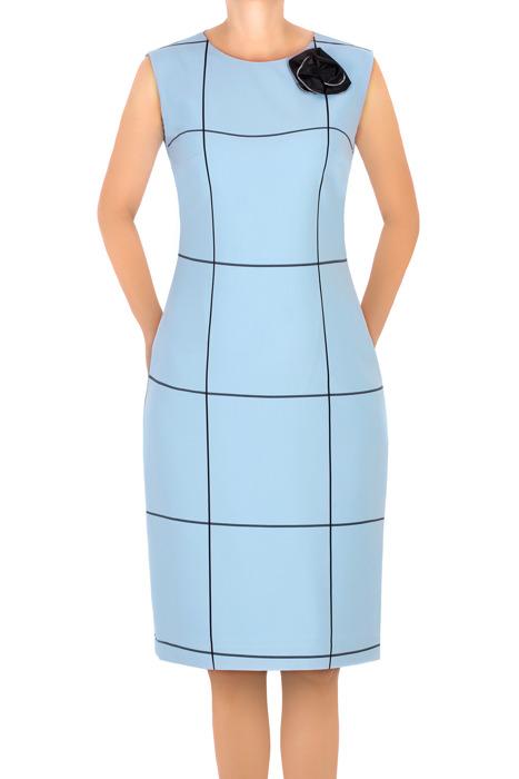 Sukienka Dagon 2651 niebieska w kratkę z ozdobą