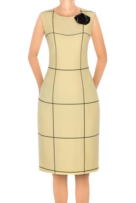 Sukienka Dagon 2651 żółta w kratkę z ozdobą