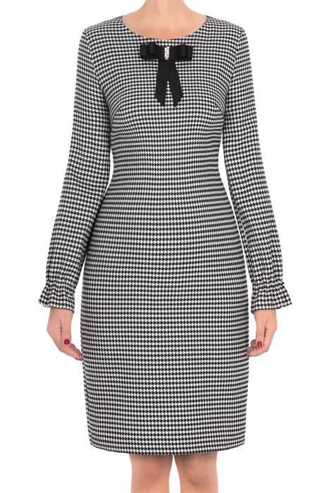 Sukienka Dagon 2705 w pepitkę szaro-czarną z kokardą