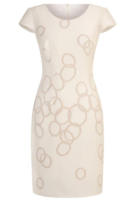 Sukienka Dorota ecru w geometryczne koła