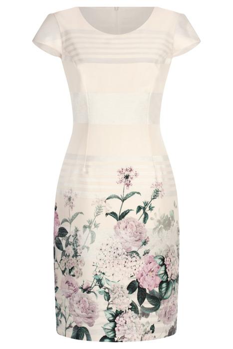 Sukienka Dorota ecru w kwiaty i promienie
