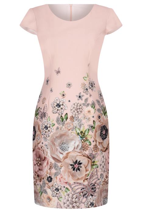 Sukienka Dorota różowa w kolorowe kwiaty