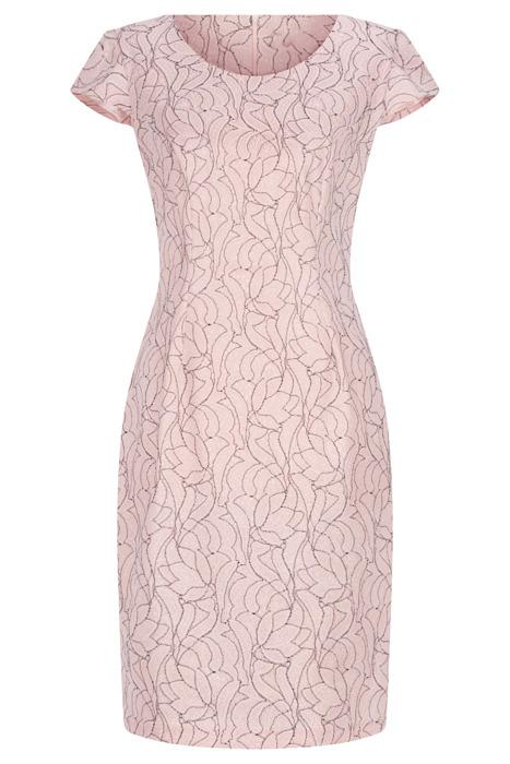 Sukienka Dorota różowa w srebrne koronkowe kwiaty