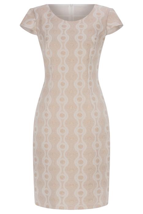 Sukienka Dorota złoto-beżowa w geometryczne wzory