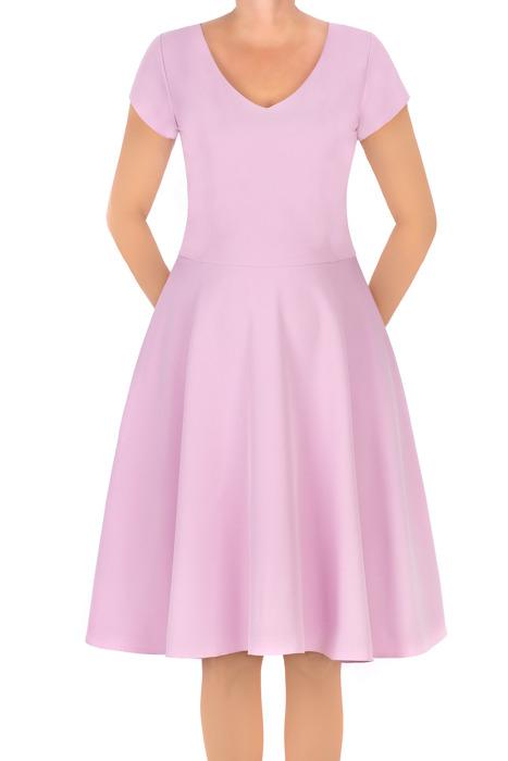 Sukienka Gotta jasny róż rozkloszowana bawełniana