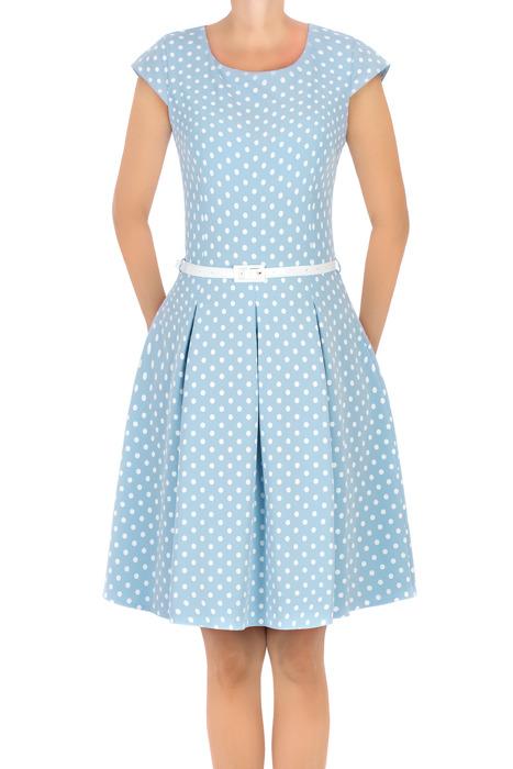 Sukienka Gotta niebieska w kropki z paskiem w talii