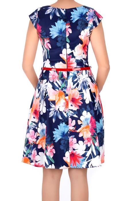 Sukienka Gotta granatowa w kolorowe kwiaty z paskiem w talii