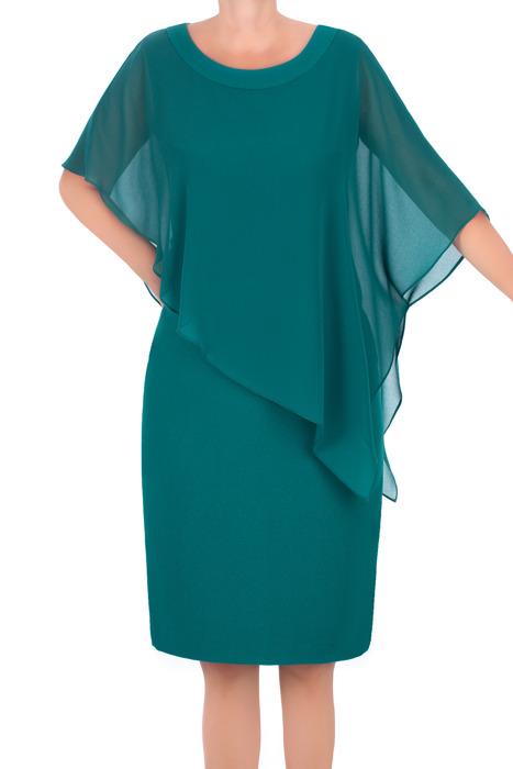 Sukienka J.S.A. Karolina morska zieleń z szyfonową narzutką