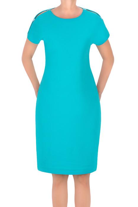 Sukienka J.S.A. Kasia jasny turkusowy z pęknięciem na ramieniu