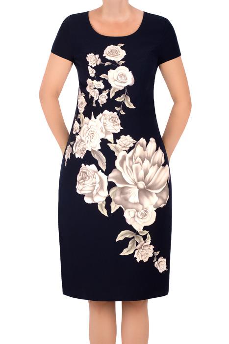 Sukienka Kolor granatowa w beżowe kwiaty